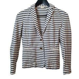 J.Crew women's cotton white & navy striped blazer